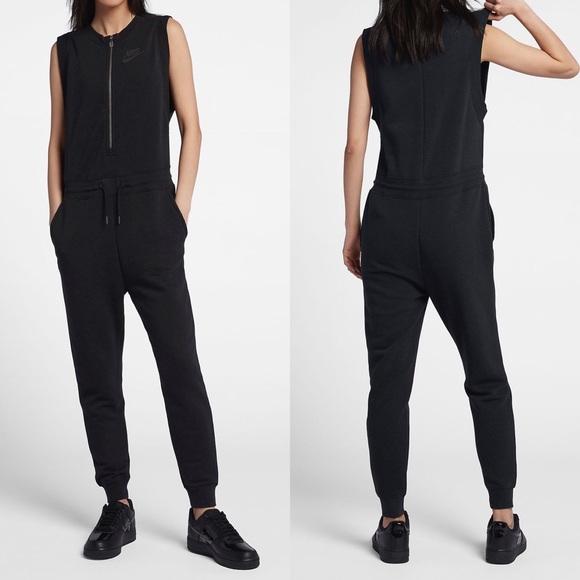 40eb8afa3 Nike Pants | Black French Terry Sleeveless Jumpsuit | Poshmark